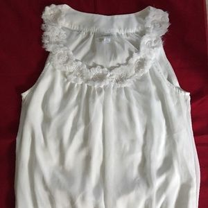 Dressbarn Womens White Floral Top Size Large